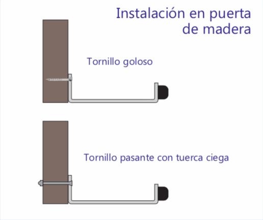 instalación en puerta de madera - manija pedal